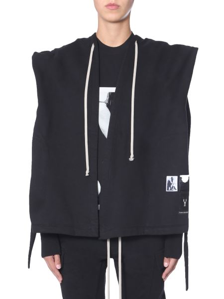 Rick Owens Drkshdw - Hooded Cotton Sweatshirt With Patch