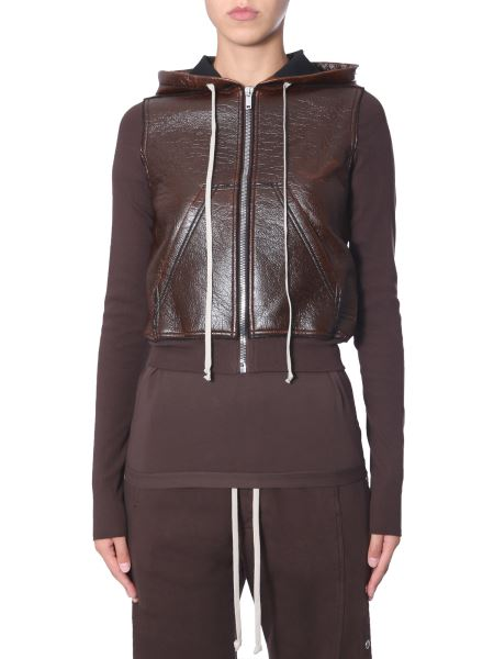 Rick Owens Drkshdw - Hooded Cotton Jacket With Sleeves