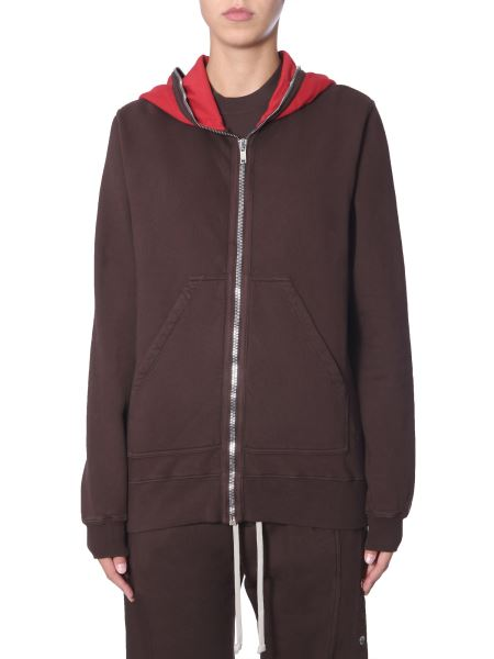 Rick Owens Drkshdw - Cotton Sweatshirt With Zip And Hood