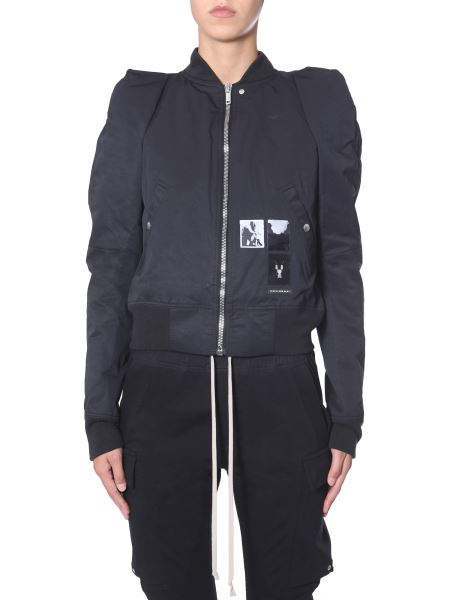 "Rick Owens Drkshdw - ""flight"" Cropped Bomber With Patch"