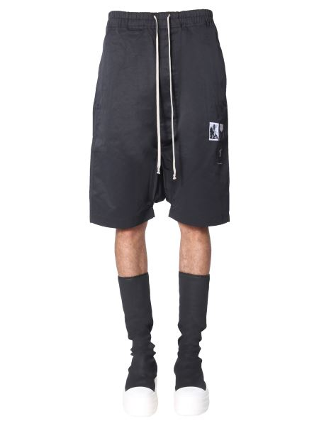 """Rick Owens Drkshdw - """"pods"""" Cotton Shorts With Patch"""