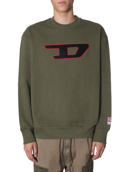 "Diesel - ""s-crew-division-d"" Cotton Fleece Sweatshirt"