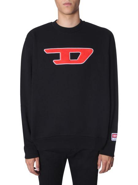 """Diesel - """"s-crew-division-d"""" Cotton Fleece Sweatshirt"""