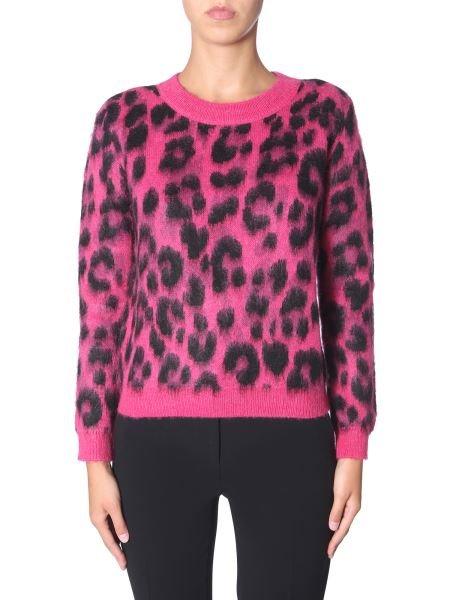Boutique Moschino - Mohair Cardigan With Animal Fantasy Print