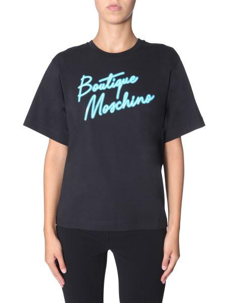 Boutique Moschino - Round Neck Cotton T-shirt With Logo Print