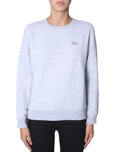 Lacoste - Round Neck Cotton Sweatshirt With Velvet Crocodile Patch