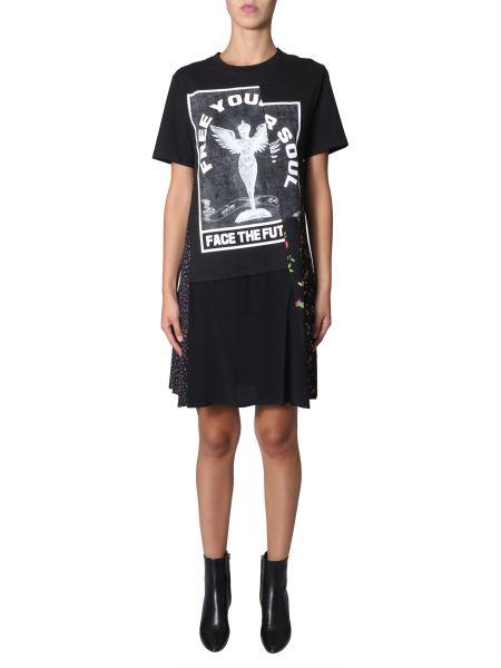 Mcq Alexander Mcqueen - T-shirt Dress Destructured With Floral Print