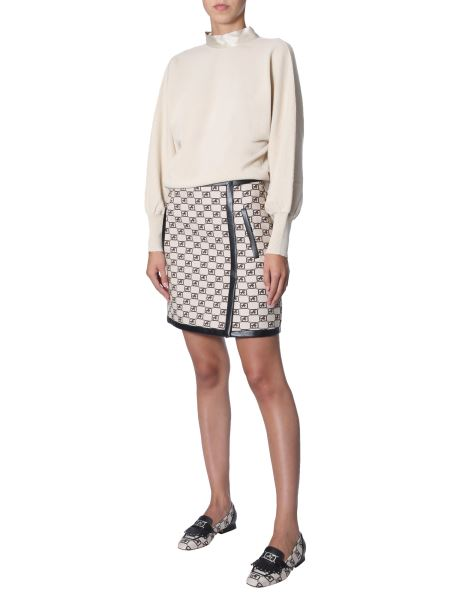 Alberta Ferretti - Wool Sweater With Silk Ribbon