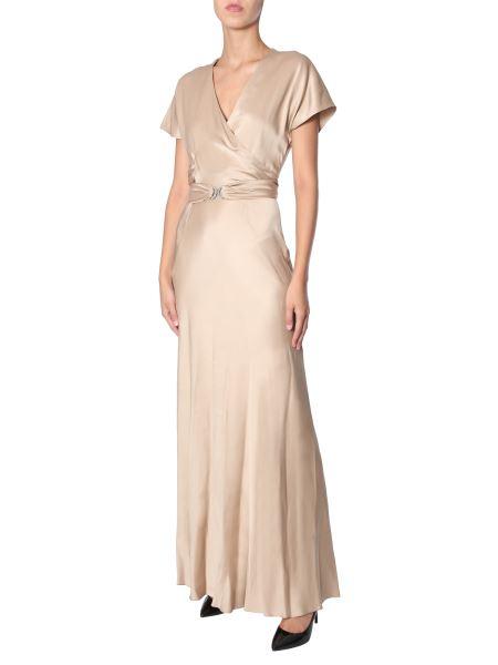 Alberta Ferretti - Long Satin Dress With Belt
