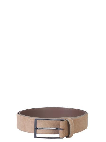 Boss - Suede Belt With Logoed Buckle