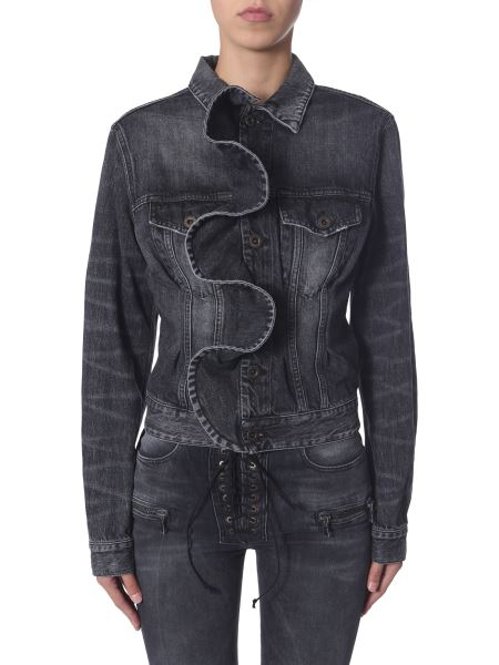 "Unravel - ""vintage Spray"" Denim Cotton Jacket With Frill"