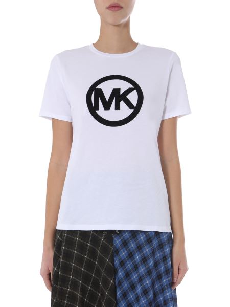 Michael By Michael Kors - Round Neck Cotton T-shirt With Flocked Circle Logo