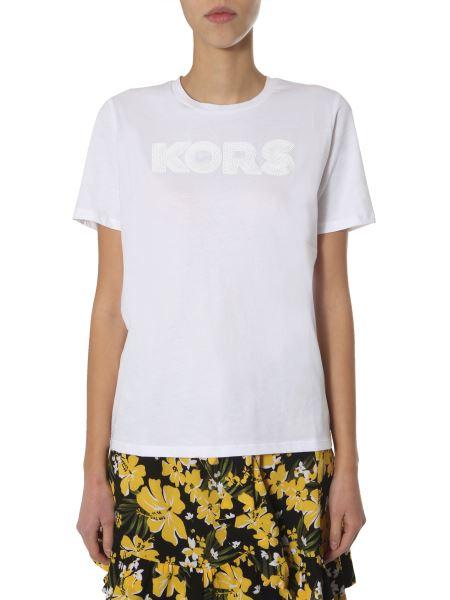 Michael By Michael Kors - Crew Neck Cotton T-shirt With Sequin Logo