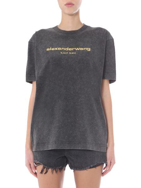 Alexander Wang - T-shirt Acid Wash Oversize Fit In Cotone Con Logo Ricamato
