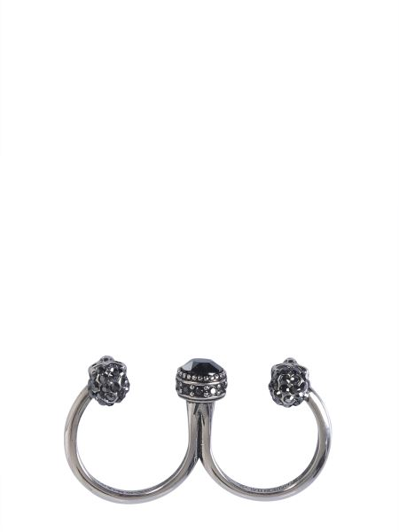 Alexander Mcqueen - Double Skull Ring With Precious Stones
