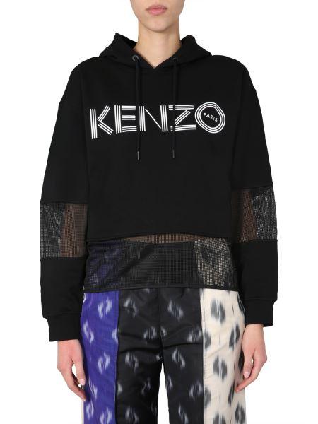 Kenzo - Felpa In Cotone Con Cappuccio E Pannelli In Mesh