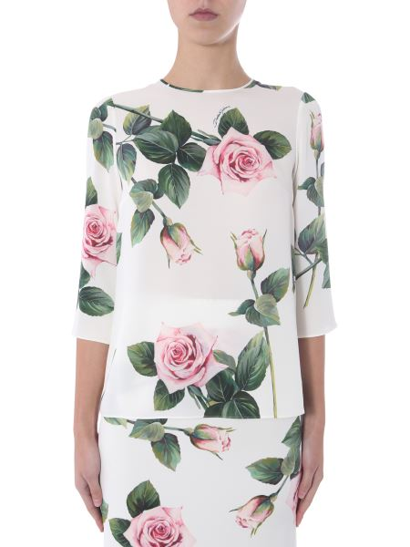 Dolce & Gabbana - Tropical Rose Print Silk Blouse
