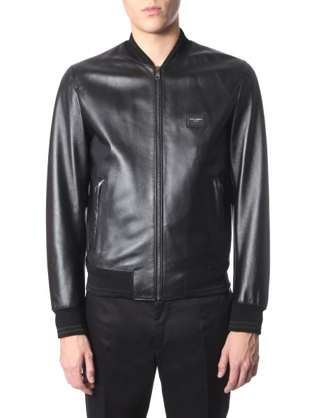 Dolce & Gabbana - Leather Jacket With Logoed Plate