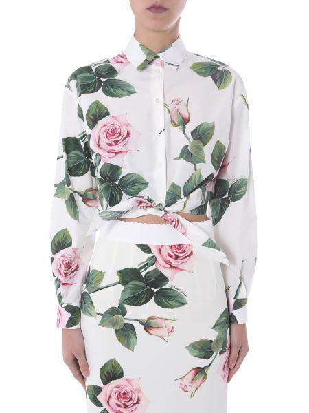 Dolce & Gabbana - Tropical Rose Print Cotton Poplin Shirt With Knot
