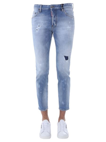 """Dsquared - Cotton Denim """"skater"""" Jeans With Logo Patch"""