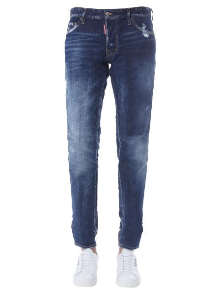 Dsquared - Slim Fit Cotton Denim Jeans With Embroidered Logo