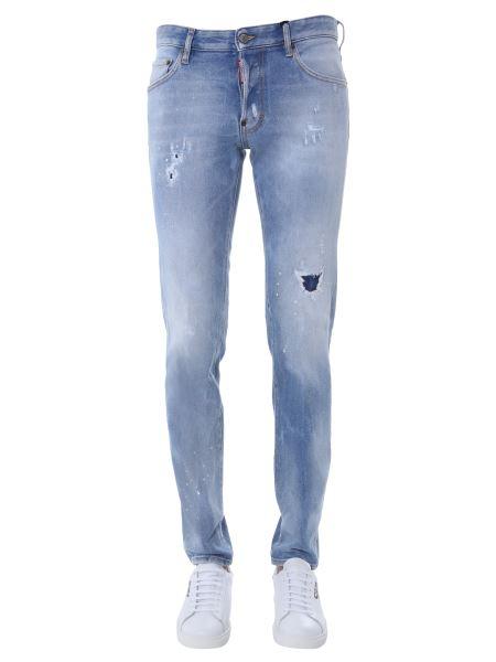 """Dsquared - """"dean & Dan"""" Cotton Denim Jeans With Logo Patch"""