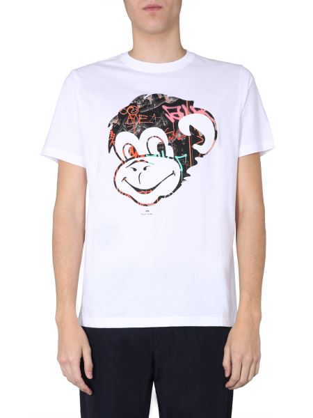 Ps By Paul Smith - Cotton Crew Neck T-shirt With Monkey Print