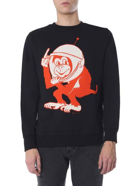 Ps By Paul Smith - Space Print Crew Neck Cotton Sweatshirt