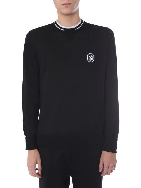Neil Barrett - Crew Neck Wool Sweater With Contrast Logo Patch