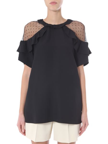 Red Valentino - Blusa In Crepe Envers Satin Con Spalla In Tulle E Rouches