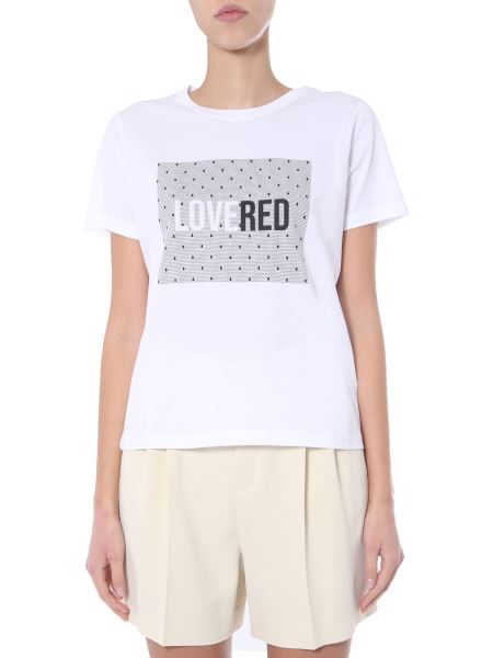 Red Valentino - T-shirt Girocollo In Cotone Con Stampa Lovered