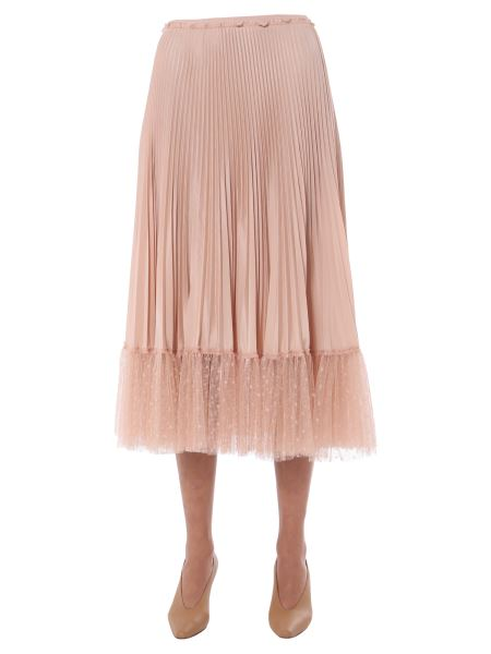 Red Valentino - Gonna Plissè In Crepe De Chine E Tulle Point D'esprit