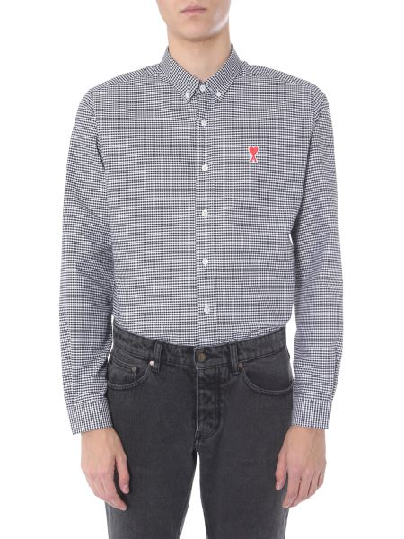 Ami - Vichy Cotton Shirt With Logo Patch