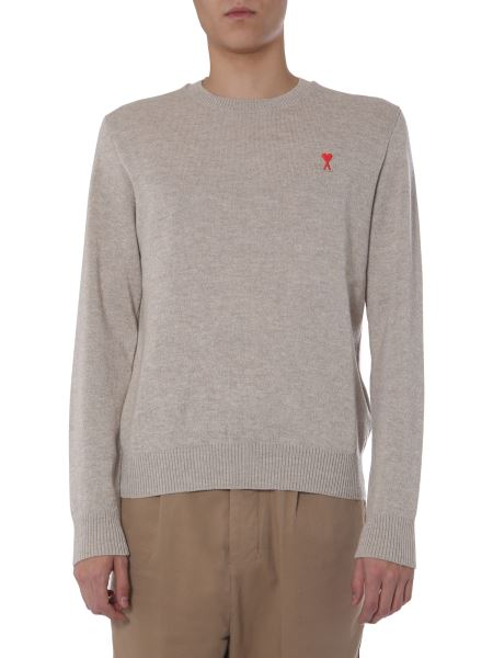 Ami - Crew Neck Wool Sweater With Logo Patch