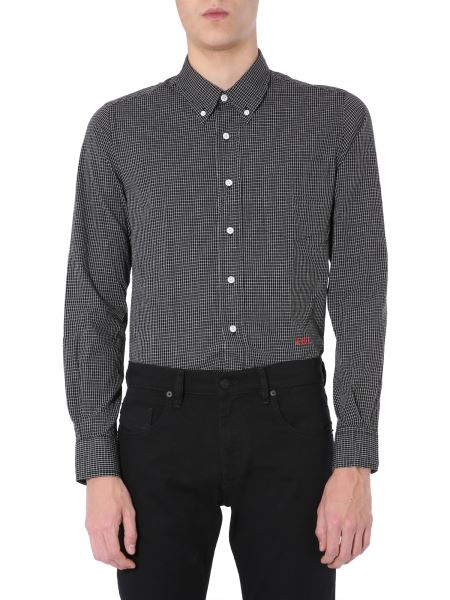 Ami - Boy Fit Cotton Poplin Shirt With Check Motif