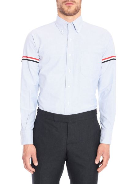 Thom Browne - Classic Cotton Oxford Shirt With Stripes Detail