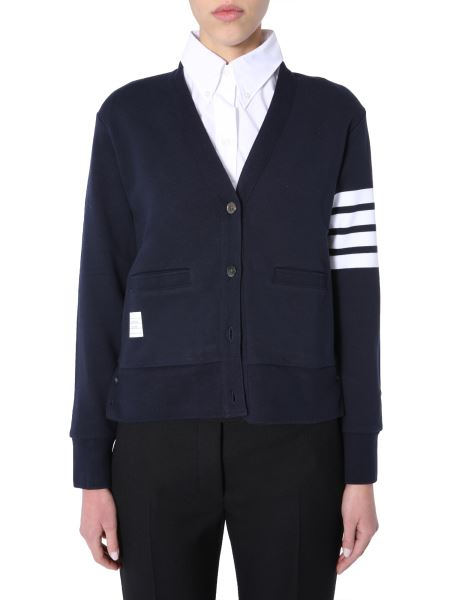 Thom Browne - Cotton Cardigan With Stripes Detail