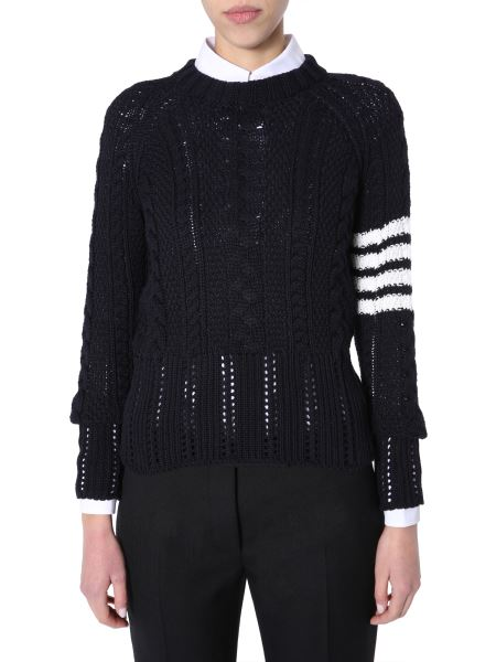 Thom Browne - Crew Neck Cotton Sweater With 4 Bars And Logo