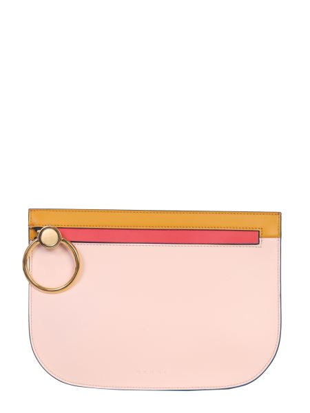 Marni - Multicolored Brushed Leather Clutch