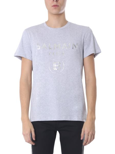 Balmain - Crew Neck Cotton T-shirt With Holographic Effect Logo