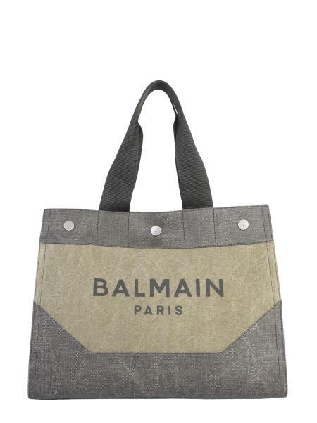 Balmain - Canvas Shopper Bag With Logo