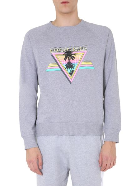 Balmain - Cotton Crew Neck Sweatshirt With Print