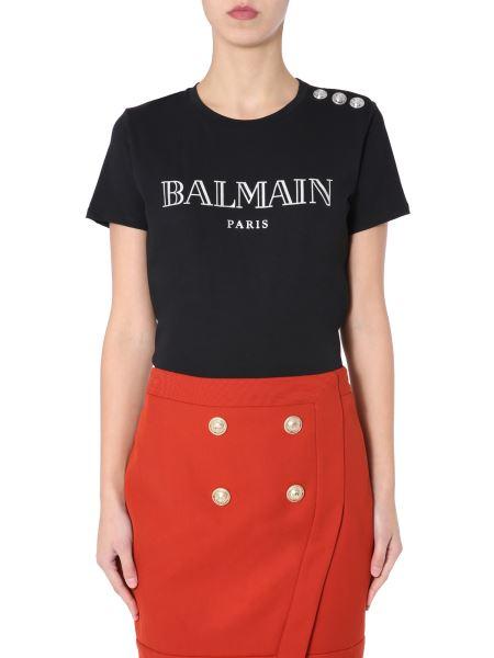 Balmain - T-shirt Girocollo In Cotone Con Logo