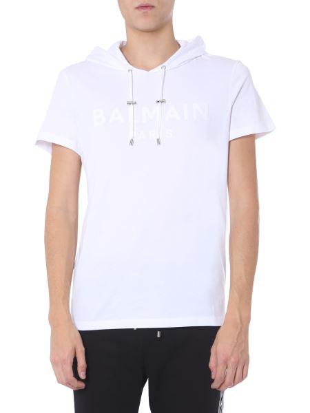 Balmain - Cotton T-shirt With Hood And Logo