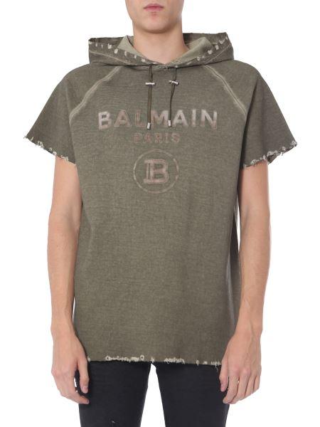 Balmain - T-shirt In Cotone Con Cappuccio E Logo
