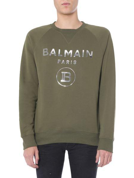 Balmain - Crew Neck Sweatshirt With Silver Logo