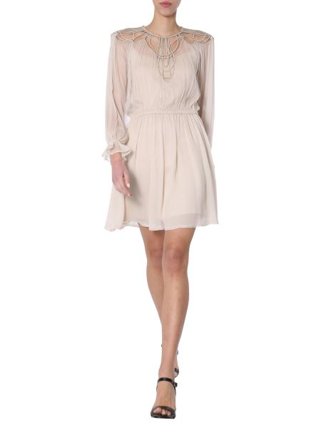 Alberta Ferretti - Embroidered Chiffon Silk Creponne Dress
