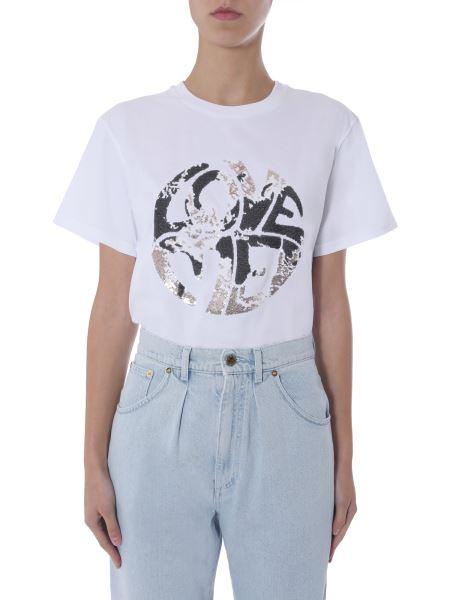 """Alberta Ferretti - """"love Me"""" Crew Neck Cotton T-shirt"""