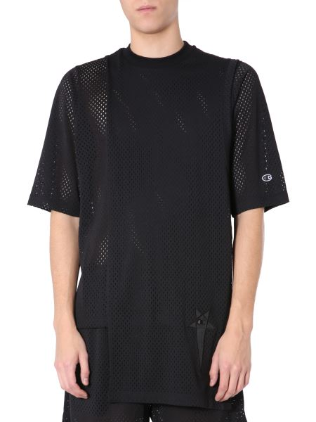 Rick Owens - Destructured Mesh T-shirt With Logo Patch