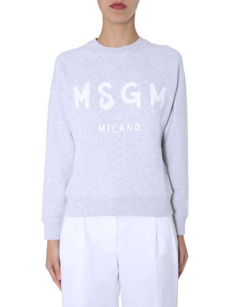 Msgm - Crew Neck Cotton Sweatshirt With Brushed Logo
